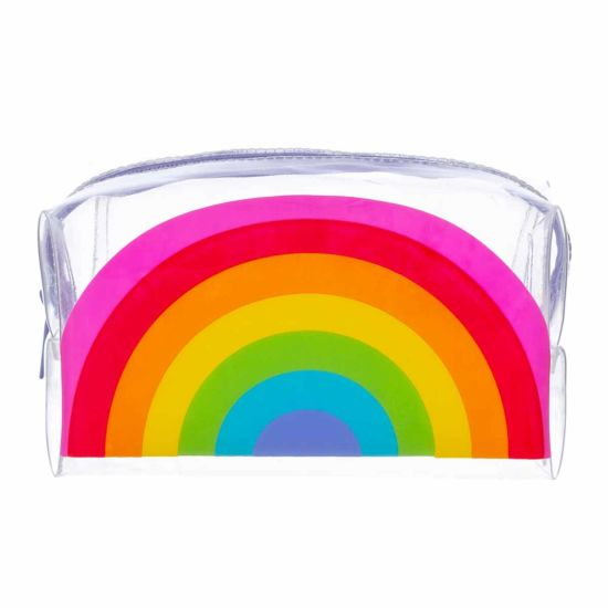 Clear Rainbow Large Wedge Pencil Case