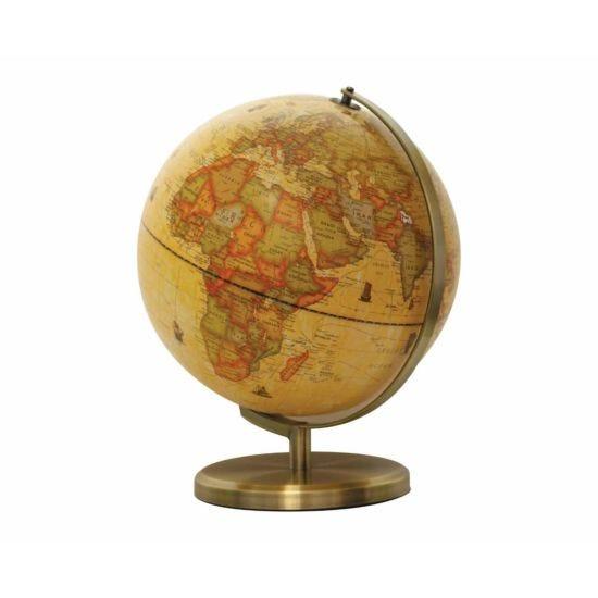 Ryman Illuminated Antique Globe with Brush Metal Base 30cm
