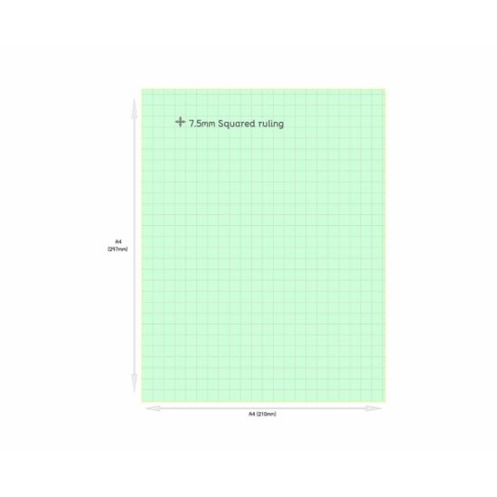 Tinted Exercise Books Squared A4 7.5mm Apple Green
