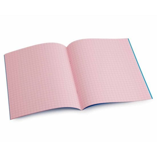 Tinted Exercise Book Standard 7x9 Squared 7.5mm Rose