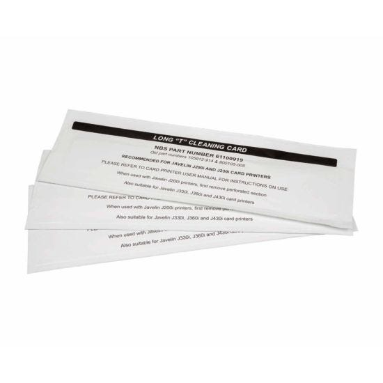 Javelin Long Cleaning Cards for DNA Card Printer Pack of 50