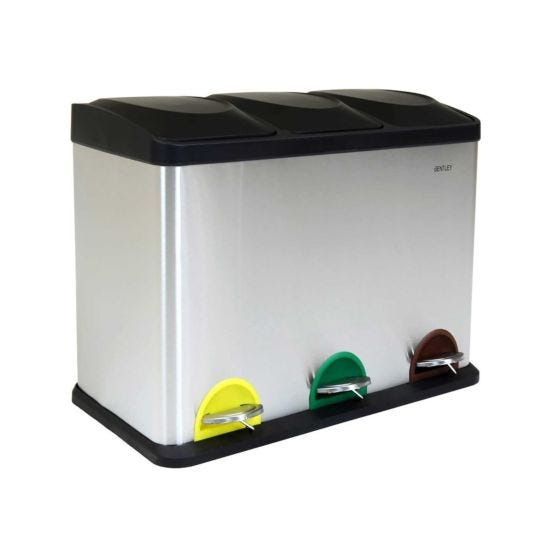Charles Bentley 45 Litre Pedal Bin with 3 Compartments