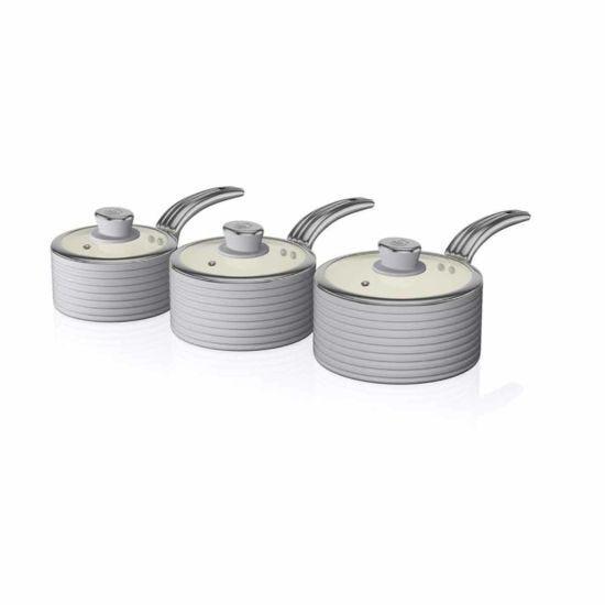Swan Retro Saucepan Set of 3 Grey