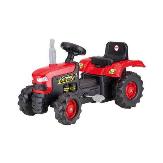 Charles Bentley Dolu Kids Ride On Red Tractor Pedal Operated Toy