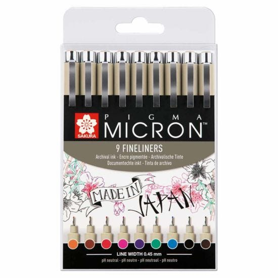 Sakura Pigma Micron Assorted Fineliner Pen Set of 9