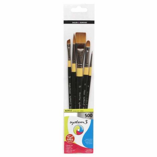 Daler Rowney System3 Short Handle 500 Brush Set of 5