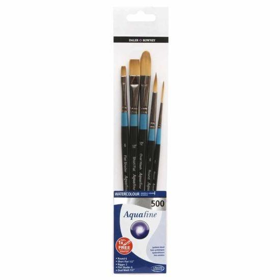 Daler Rowney Aquafine Watercolour 500 Short Handle Brush Set of 5