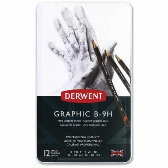 Derwent Graphic Hard Pencils Set of 12