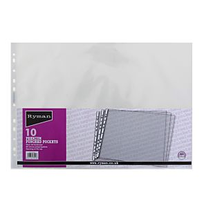 Ryman Premium Punched Pockets A3 80 Micron Pack of 10 Landscape