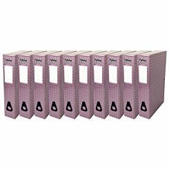 Pukka Metallic Foolscap Box File Pack of 10 Metallic Pink