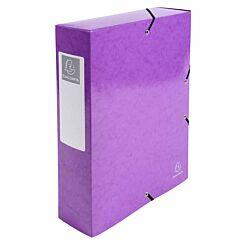 Exacompta Iderama Elasticated A4 Box File 80mm Pack of 6 Purple
