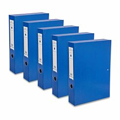Ryman Premium Box File Foolscap Pack of 5 Royal Blue