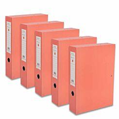 Ryman Premium Box File Foolscap Pack of 5 Coral