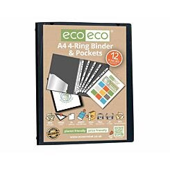 eco eco Ring Binder 12 Pocket A4 Black