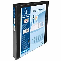Exacompta Kreacover Personal Ring Binder A4 Plus 4 Rings 30mm 3 Pockets Pack of 10 Black