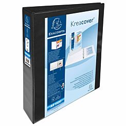 Exacompta Kreacover Personal Ring Binder A4 Plus 4 Rings 40mm 2 Pockets Pack of 10 Black