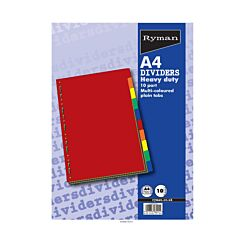 Ryman Tab Dividers Heavy Duty Plain 10 Part A4 240gsm