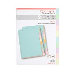 Ryman 10 Part Dividers A4 Plain Pack Of 2 Pastel