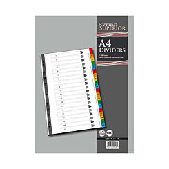 Ryman 1 to 20 Dividers A4 Index Coloured Tabs