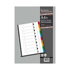 Ryman 1 to 10 Dividers A4 Extra Wide Coloured Tabs