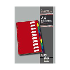 Ryman Index 10 Part Dividers A4 Translucent Coloured Tabs