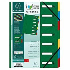 Exacompta Harmonika Multipart File A4 7 Part Pack of 8 green