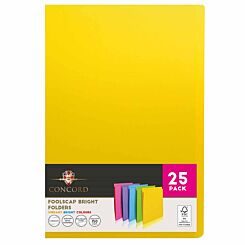 Concord Foolscap Bright Folders Assorted Pack of 25
