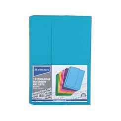 Ryman Document Wallets Foolscap Pack of 100 Bright Assorted