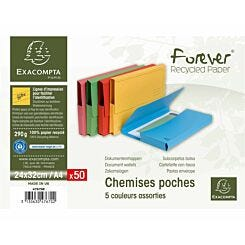 Exacompta Forever Document Wallets A4 2 Packs of 50 290gsm Assorted