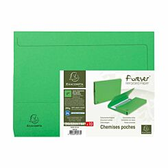 Exacompta Forever Recycled Document Wallets A4 Pack of 10 Green