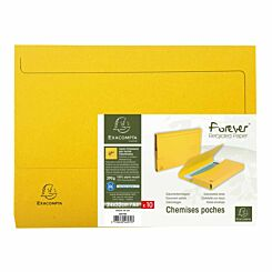 Exacompta Forever Recycled Document Wallets A4 Pack of 10 Yellow
