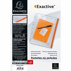 Exacompta Exactive Punched Zip Pockets A4 Pack of 10 Clear