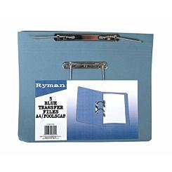 Ryman Spring Transfer Files Foolscap Pack of 5 Blue