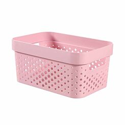 Curver Infinity Recycled Storage Basket 4.5 Litres Pack of 5 Pink