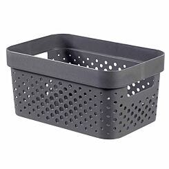 Curver Infinity Recycled Storage Basket 11 Litres Pack of 6 Grey