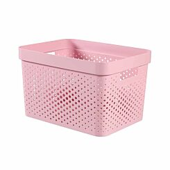 Curver Infinity Recycled Storage Basket 17 Litres Pack of 5 Pink