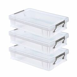 Whitefurze Allstore Plastic Storage Box 5.5 Litre Pack of 3