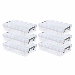 Whitefurze Allstore Plastic Storage Box 5.5 Litre Pack of 6