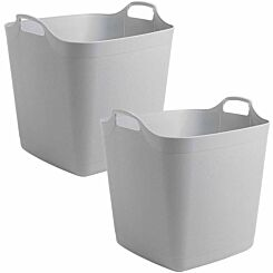 Wham Flexi Square Tub 40 Litres Pack of 2 Grey