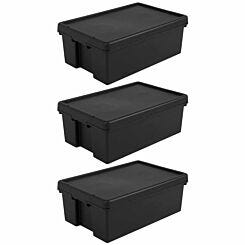Wham Bam Recycled Storage Boxes 36 Litre Pack of 3 Black