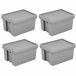 Wham Bam Recycled Storage Boxes 16 Litre Pack of 4 Grey