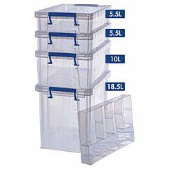 ProStore Storage Box Bonus Pack 6 39.5L Capacity plus Organiser
