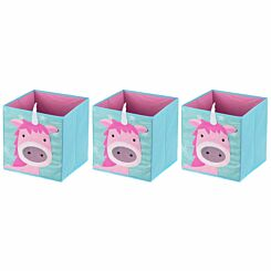 Ryman Childrens Storage Cube Unicorn Pack of 3