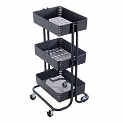 Ryman 3 Tier Storage Trolley Dark Grey