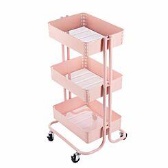 Ryman 3 Tier Storage Trolley Light Pink
