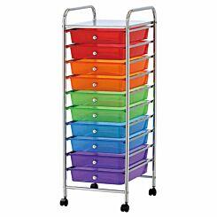 Ryman 10 Drawer Trolley 90cm Multicoloured