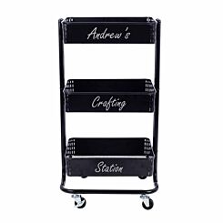 Personalised Ryman 3 Tier Storage Cart Black with Silver Text