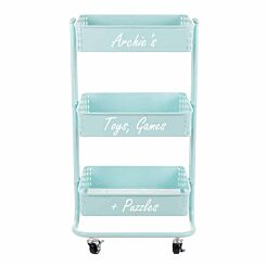 Personalised Ryman 3 Tier Storage Cart Mint Green with White Text