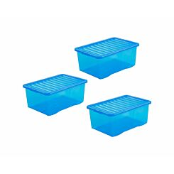 Wham Boxes 45 Litre Pack of 3 Clear Blue
