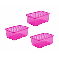 Wham Boxes 45 Litre Pack of 3 Clear Pink